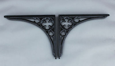 "2 x 8 x 7"" CAST IRON VICTORIAN SHELF BRACKETS ANTIQUE GOTHIC HEAVY BLACK BR09bx2"