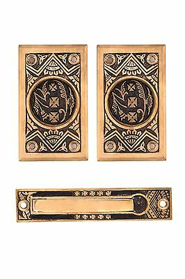 Oriental pattern pocket door set cast bronze (passage)