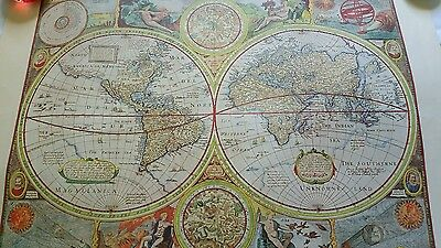 Antique Map, 1651 Reproduction, a new and Accvrat   Map of the World