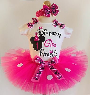 First Birthday Outfit Pink Minnie Mouse 1st Birthday Dress Tutu Custom