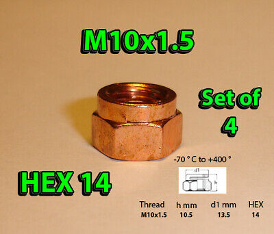 M10 1.5 COPPER PLATED EXHAUST NUT NUTS 12mm HEX DIN 14441