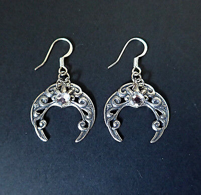 CELTIC Crescent MOON Silver FILIGREE Medieval RENAISSANCE EARRINGS Stones NEW