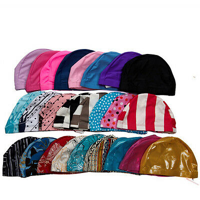 Unisex Stretch Flexible Sporty Swimming Long Hair Cap Hat Ear Cup First-rate New