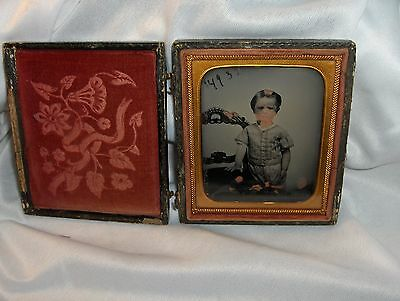 Antique Ambrotype Photo Miniature 1800's Adorable Little Boy Watch Wood Case D5