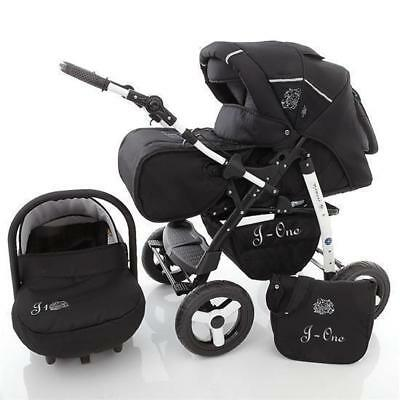 Lux4Kids Kinderwagen Set 3in1 Buggy Babywanne Babyschale Sportsitz J-One