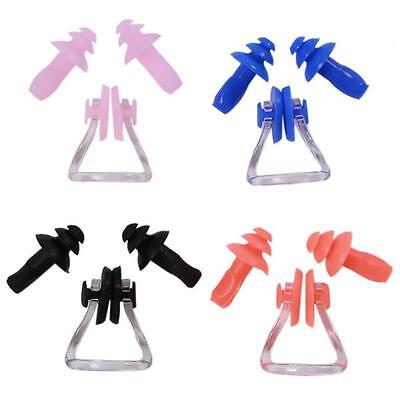 Silicone Waterproof Swimming Ear Plugs And Nose Clip Set with Case Plastic Box N