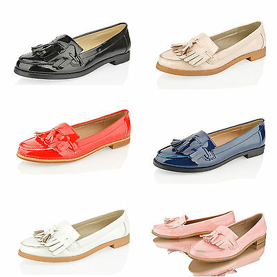 Womens Ladies Fringe Tassel Loafers Faux Leather Casual Office School Shoes Size