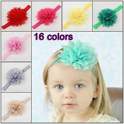 Baby toddler flower floral elastic headband accessory 16 colours head band 1551
