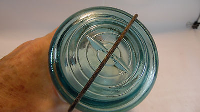 Vintage Blue Canning Jar - Ball Ideal - Metal/Glass Bale - Pint
