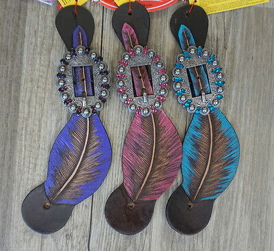 Showman Ladies Feather Painted Leather Western Spur Straps Pink Purple Teal