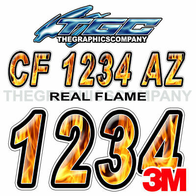 Real Flame Custom Boat Registration Numbers Decals Vinyl Lettering Stickers USCG