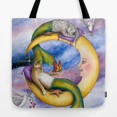 Tote Bag All over print Made in USA Cat Mermaid 29 from art painting by L.Dumas