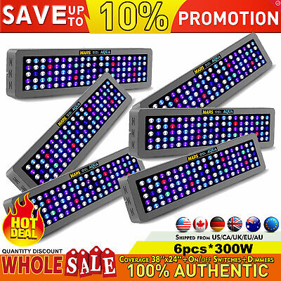 6PCS Dimmable 300W LED Aquarium Grow Light Full Spectrum for Reef Coral LPS/SPS