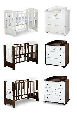 BABY NURSERY FURNITURE SET COT CHANGING TABLE WITH DRAWERS white or walnut cream