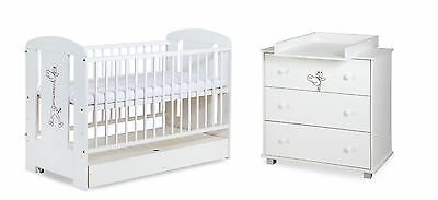 BABY NURSERY FURNITURE SET COT with DRAWER + CHEST DRAWERS CHANGING TABLE white