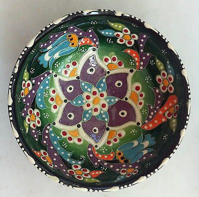 Turkish Kutahya Tile Bowl Porcelain Ottoman Arts 12 cm Embossed  Handmade-04