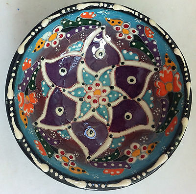 Turkish Ceramic Iznik Tile Bowl Porcelain Kutahya Art 12 cm Embossed Handmade-10