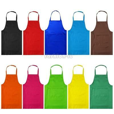 multi-color plain apron chefs butchers kitchen front pocket cooking craft baking