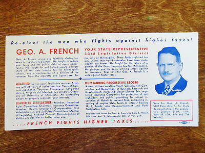 1930s Political Re-Election Campaign Geo French Ad Blotter Minneapolis MN