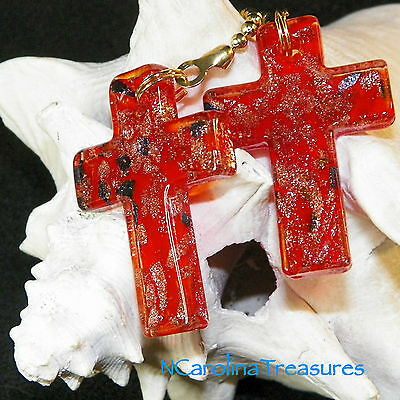 Vintage Art Glass Ceiling Fan Chain Light Switch Pull Red Gold Cross Large Pair
