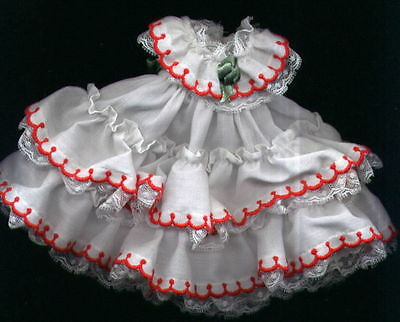 "Madame Alexander 8"" Doll White and Red Ruffle Formal Dress"