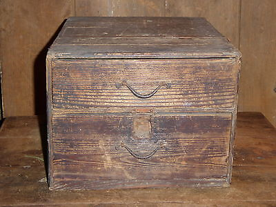 Antique Early Primitive Old Original Japanese Tansu Chest Rare 2 Drawer Box