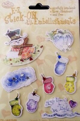 *SNOWMAN & HEARTS* Royal & Langnickel 3D Christmas Sticker Embellishments