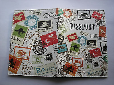"""PASSPORT Cover Case """" I LOVE TRAVEL"""" Travel Wallet  Faux leather  NEW Great gift"""