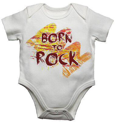 Baby Vests Bodysuits Baby Grows Born to Rock Personalized Soft Cotton Unisex