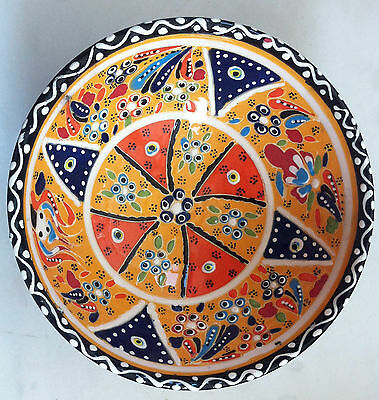 Turkish Kutahya Tile Bowl Porcelain Ottoman Arts 18 cm Embossed  Handmade-09