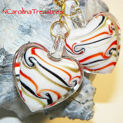 Murano Glass Ceiling Fan Switch Pull Red Gold Stripe Heart Hearts Large Pair