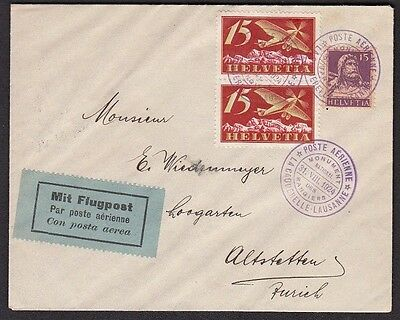SWITZERLAND - Air Mail / Flugspost Cover,  La Caquerelle to Lausanne August 1924