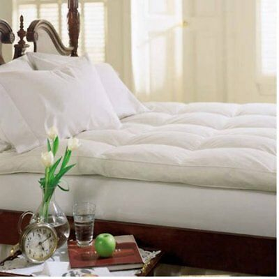 Cluster Top Baffle Box Feather Bed Pillow White Goose Down Mattress Topper Pad
