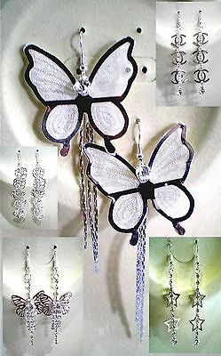 Beautiful Pair of Clear Crystal Dangle Earrings Different Styles