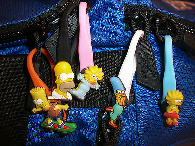 The Simpsons Colorful Character Soft Zipper Pulls Charms Set for Backpacks
