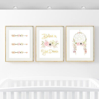 GIRLS PRINTS -Nursery prints SINGLE or SET SIZES - A2/A3/A4/16 X 20 INCHES