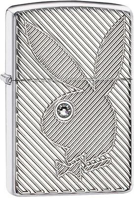 Zippo Armor Windproof Deep Cut Playboy Lighter With Crystal Eye 28963 New In Box