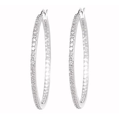 1.10ct Round Cut In & Out Side D/VVS1 Hoop Earrings in 14K White Gold