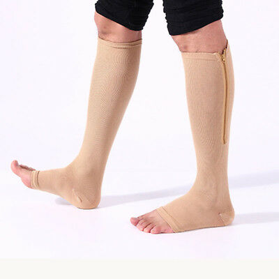 Useful Medical Open Toe Compression Socks Zipper Leg Support Knee-High Stockings