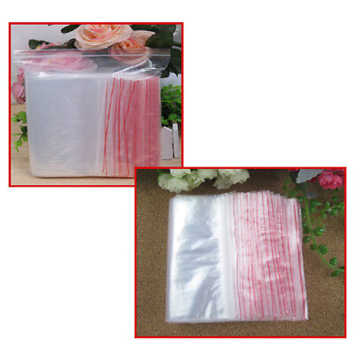 3Sizes 100pcs Ziplock Zip Zipped Lock Reclosable Plastic Poly Clear Seal Bags