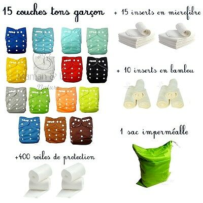 Pack Lot Complet Couches Lavables Insert Microfibre Bambou Voile Sac Impermeable