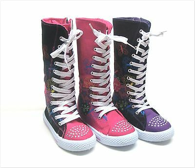 New Kids Girl Mid Calf High Top Canvas Boots Tennis Shoes Sz 10 - 4 Three Clrs