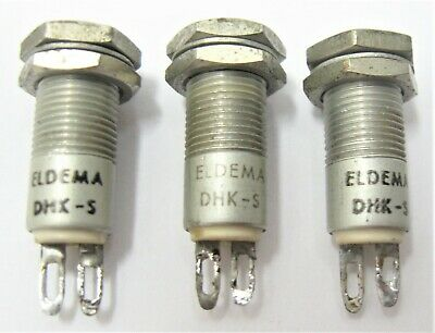 (3) ELDEMA DHK-S Bi-Pin Cartridge Lampholders Panel Mount Indicator Lights