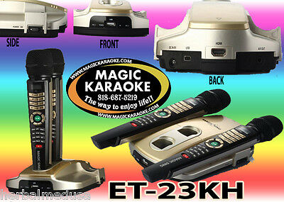 MAGIC SING ET23KH karaoke 3,673 SPANISH ENGLISH SONGS 2 WIRELESS MIC USB BAG