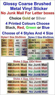 1x NO JUNK MAIL - Glossy Coarse Brushed Metal Vinyl Sticker For Letter boxes