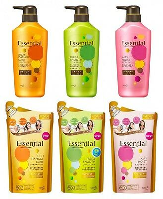 KAO Essential Shampoo Conditioner Rich Damage Hair Care Moist Import JAPAN