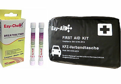 DIN 13164 Vehicle FIRST AID KIT, Compliant for European Car Travel, Breathalyser