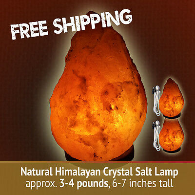 PACK of 2 - Natural Himalayan Crystal Salt Lamps 3-4 lbs, each, 6-7 inches tall