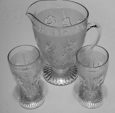 Vintage Depression JEANNETTE Iris & Herringbone Clear Glass Tumblers & Pitcher