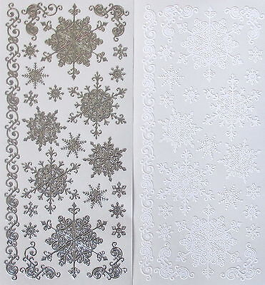 Mixed SNOWFLAKES PEEL OFF STICKERS Small Large Tiny Border Corners CARDMAKING